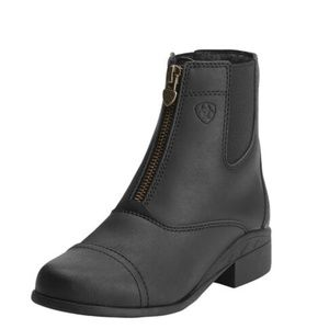Girls Ariat Scout Zip Paddock Boot Black Leather